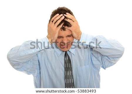 Businessman with a big headache (isolated on with with copy space) - stock photo