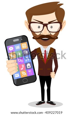 Businessman with a big phone in hand. Stock illustration - stock photo