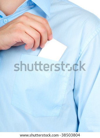 Businessman with a blank business card in his pocket - stock photo