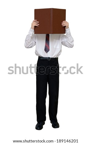 Businessman with a book instead of a head (with clipping path) - stock photo