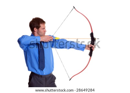 Businessman with a bow and arrow, side view, isolated on white background.