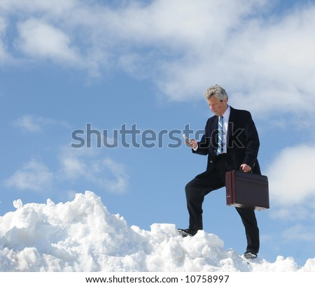 Businessman with a briefcase and telephone - stock photo