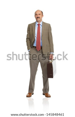 Businessman with a briefcase on a white background - stock photo