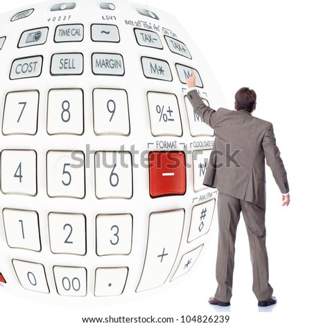 Businessman with a calculator. Accountant. - stock photo