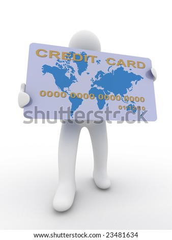 businessman with a credit card on a white background. 3D image - stock photo