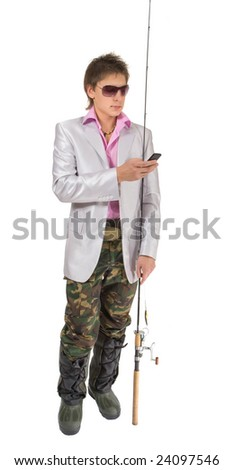 Businessman with a fishing rod is making a call. Isolated on white.