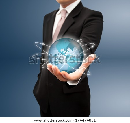Businessman with a global network. - stock photo