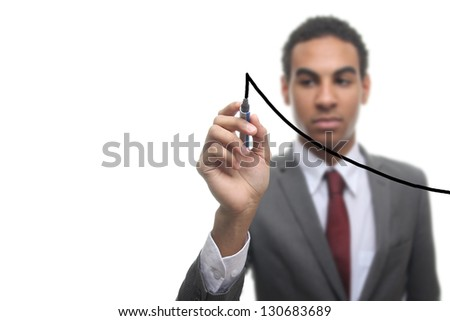 Businessman with a graph - stock photo