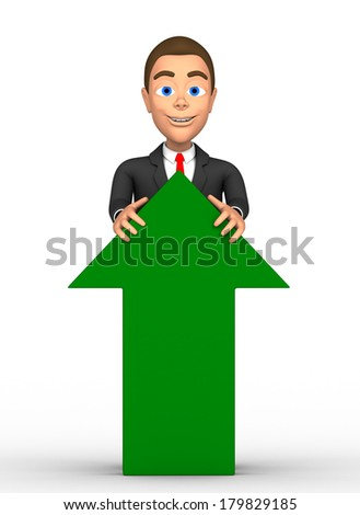 businessman with a green arrow - stock photo