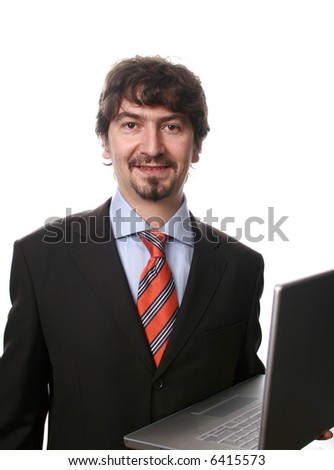businessman with a grim and laptop