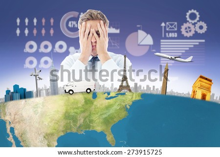 Businessman with a headache against futuristic technology interface - stock photo