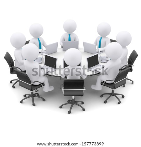 Businessman with a laptop sitting at a round table. Isolated render on a white background