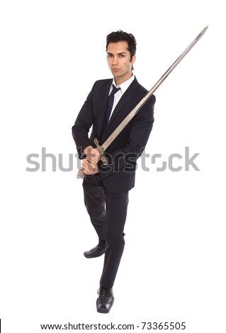 Businessman with a long sword, on a white background - stock photo
