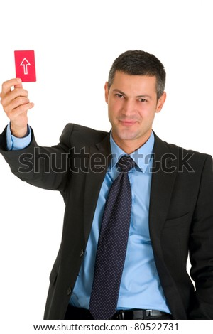 businessman with a red card - stock photo