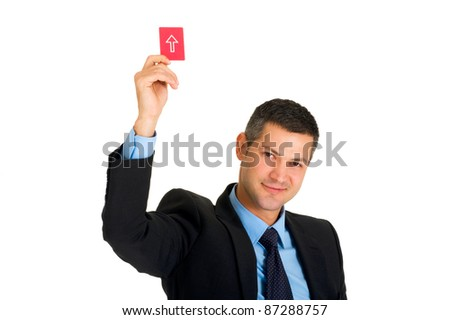 businessman with a red card direction - stock photo