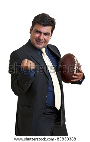 Businessman with a rugby ball isolated - stock photo
