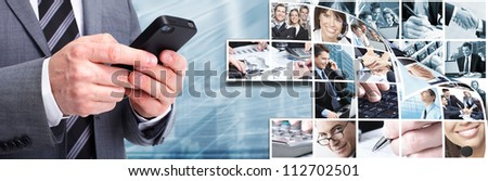 Businessman with a smartphone. Business techno background. - stock photo