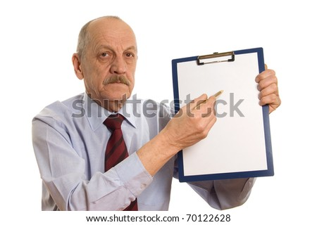 Businessman with a tablet isolated on white - stock photo