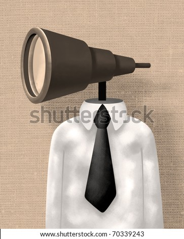 Businessman with a Telescope instead of his Head - stock photo