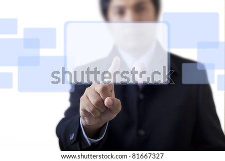 Businessman with a touch screen