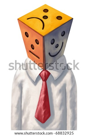 Businessman with a white shirt, red necktie. His head is made up of three colorful tiles, shaped as cube and each showing a different emotion, face expression - stock photo