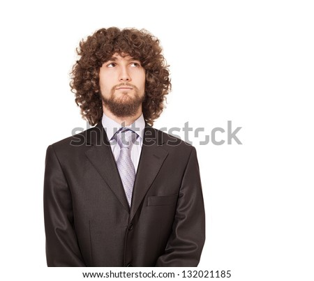 businessman with afro style hair looking up and thinking isolated on white - stock photo