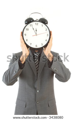 businessman with alarm clock on white background