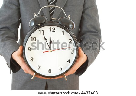 businessman with an alarm clock with space for messages