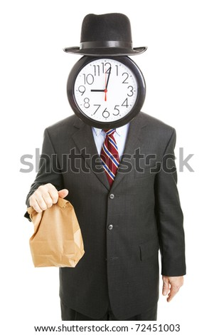 Businessman with an anonymous clock face, carrying his lunch in a brown bag to save money.  Isolated on white. - stock photo