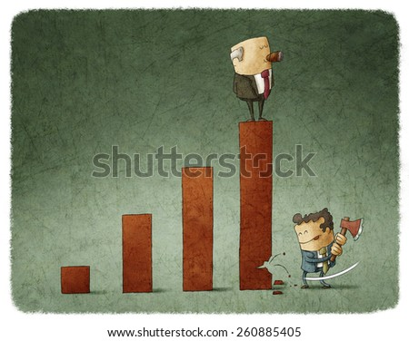 businessman with an ax breaking bar chart - stock photo