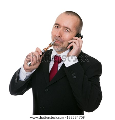 businessman with an E-cigarette and iphone