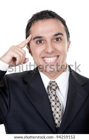 businessman with an idea on white background - stock photo