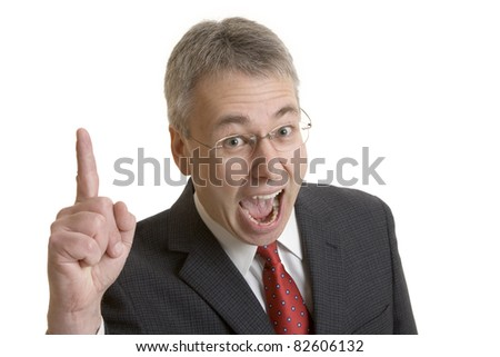 Businessman with an idea or reminding - stock photo