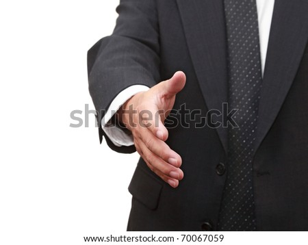 Businessman with an open hand - stock photo