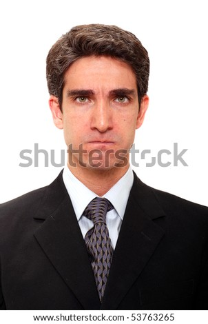 Businessman with angry facial expression - stock photo
