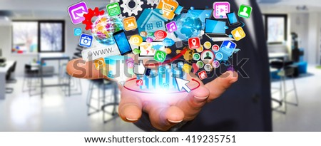 Businessman with applications icons flying over his hand '3D illustration'