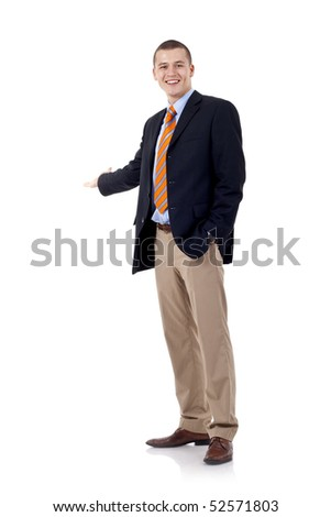 Businessman with arm out in a welcoming gesture , isolated on white background - stock photo