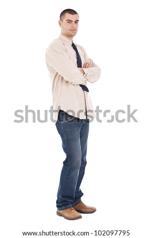 Businessman with arms crossed isolated on white - stock photo