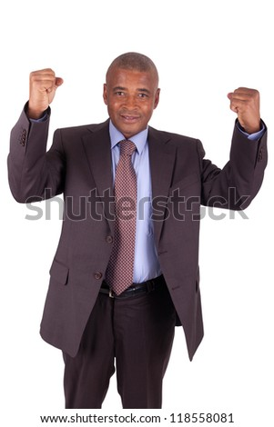 businessman with arms raised isolated on white background