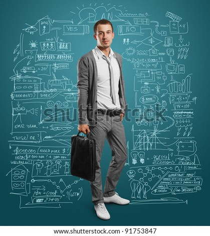 businessman with bag, looking on camera - stock photo