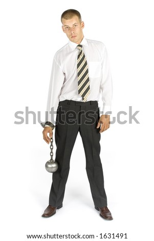 businessman with ball and chain - stock photo