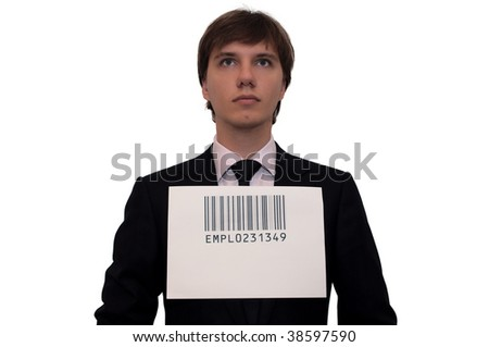 Businessman with barcode, isolated on white. Humor concept - stock photo