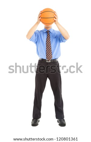 businessman with basketball cover the face - stock photo