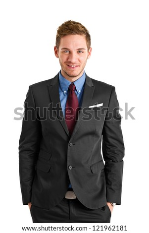 Businessman with beautiful blue eyes isolated on white