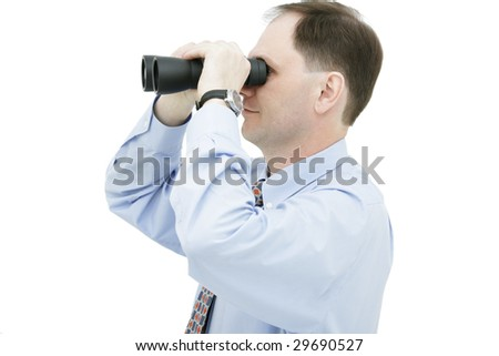 Businessman with binoculars isolated on white background