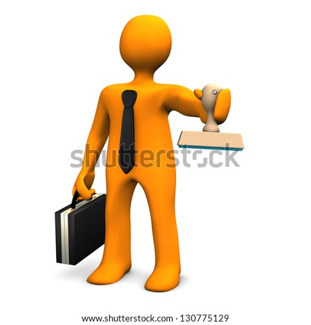 Businessman with black case, tie and stamp. - stock photo