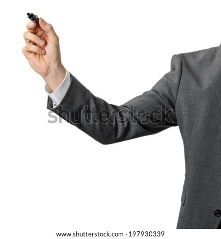businessman with black marker in the hand isolated on white - stock photo