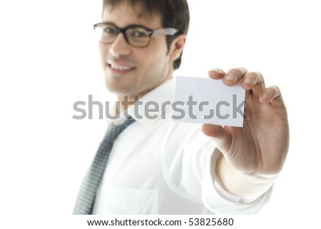Businessman with blank business card, focus on foreground. Copy space for your own text.