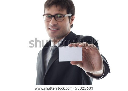 Businessman with blank businesscard, focus on foreground. Copy space for your own text. - stock photo