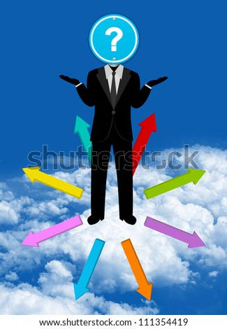 Businessman With Blue Question Mark Traffic Sign Head and Many Way For Decision in Blue Sky Background For Business Solution Concept - stock photo